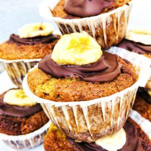 svampede banan muffins